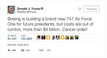 The President Elect, Boeing, and Air Force One